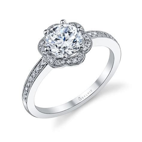 Flower Halo Prong Set Engagement Ring   Alexis Diamond