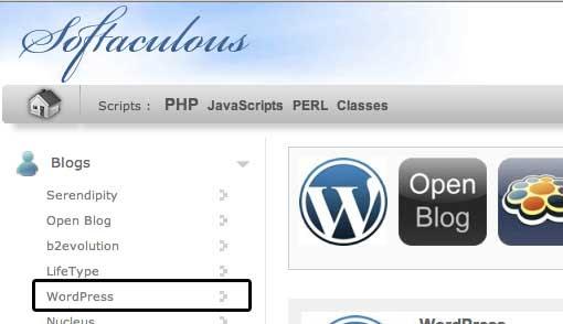 Softaculous WordPress Link