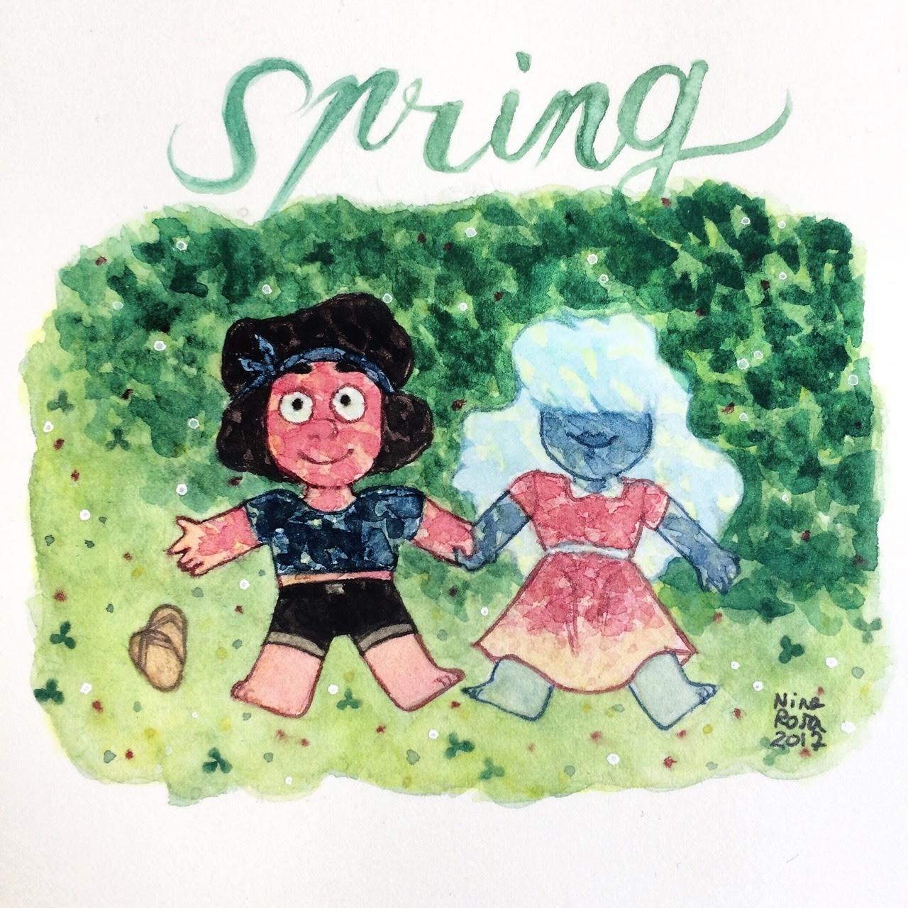 HAAA I LOVE SPRING BECAUSE THERE ARE FLOWERS AND IT'S SWEET AND SOFT AND THERE'S MY B-DAY AND IT'S BEAUTIFUL AND I LOVE IT (I know we can't see it very well, but they're under a tree ,,,, sorry I'm...