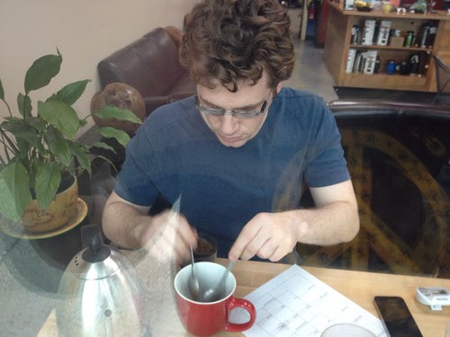 Andy cupping at our weekly cupping. by Bjava