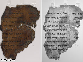 A fragment of the Dead Sea Scrolls, left, as seen by a high-resolution single-wavelength infrared imager, right.