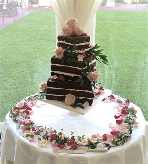 3 tier (3 layer) Square Offset Naked Wedding Cake