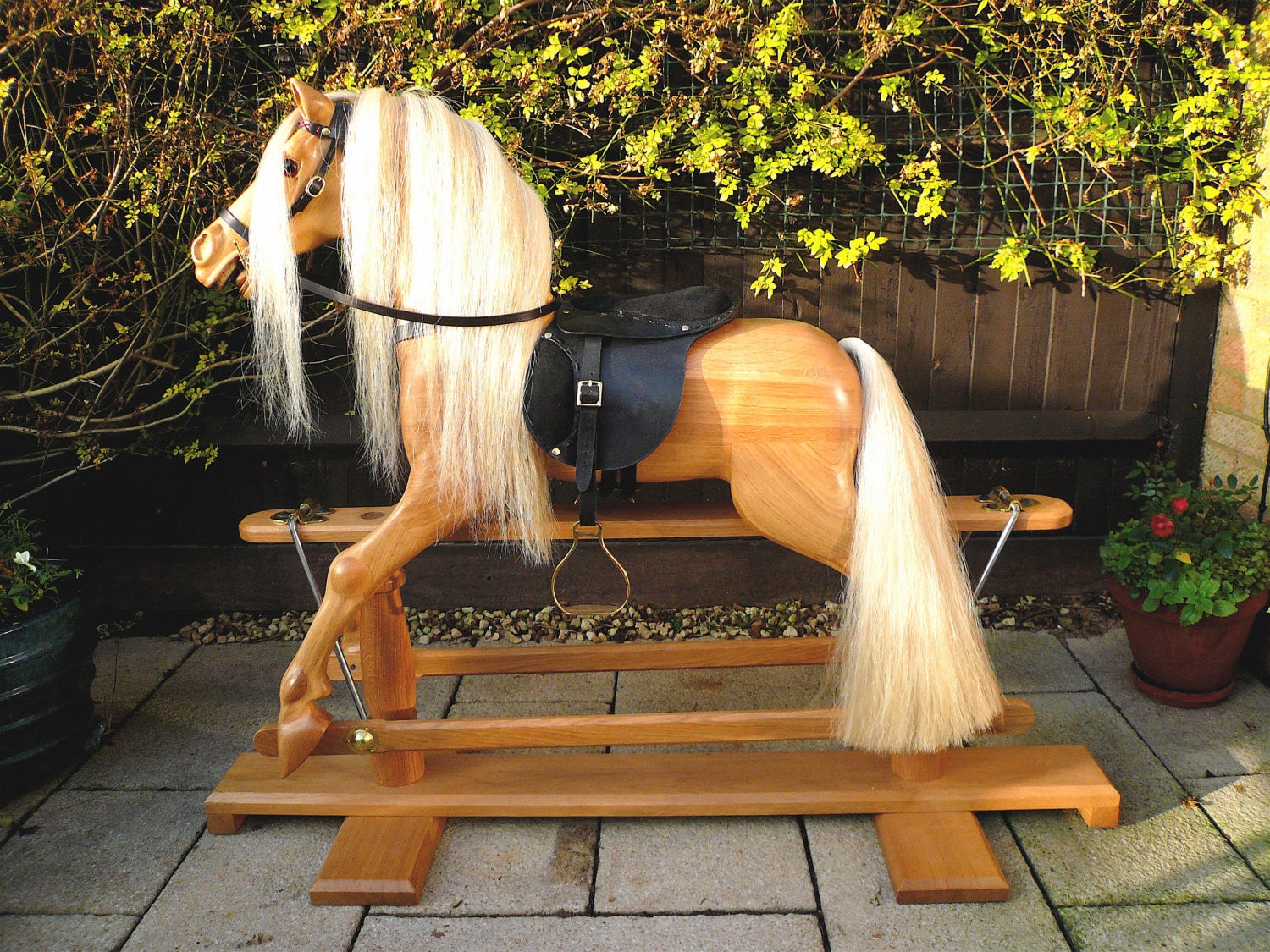 White Oak Victorian style Rocking Horse - PapasYankeeWorkshop
