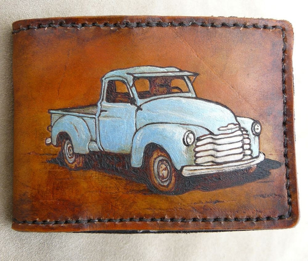 Handtooled Leather Vintage style truck wallet