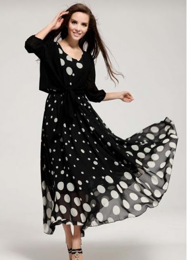 Cheap Dot Pattern Two Pieces Dress Suits for Lady