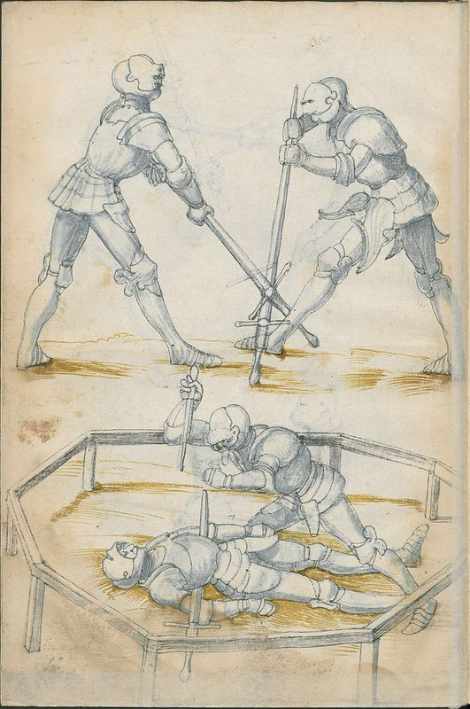 16th century sword fight manuscript drawing - Combat Knights 2