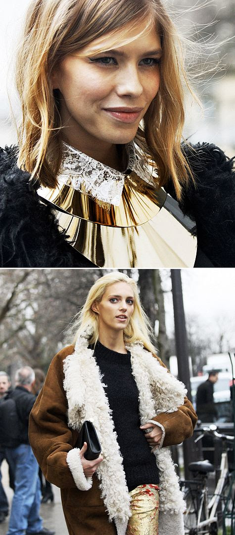 ELENA PERMINOVA ANJA RUBIK GRAZIA ITALIA COUTURE FASHION WEEK PARIS CURLY LAMB SHEARLING COAT JACKET BLACK CREAM VEST GOLD CUFF MINIMAL NECKLACE LACE COLOR GOLD PANTS NAVY KNIT SWEATER