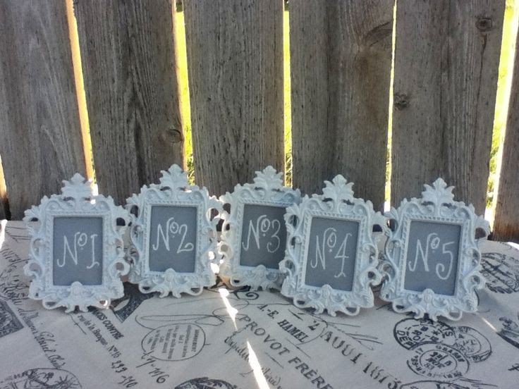 5 Vintage Style Table Numbers Small Ornate Easel Frames You
