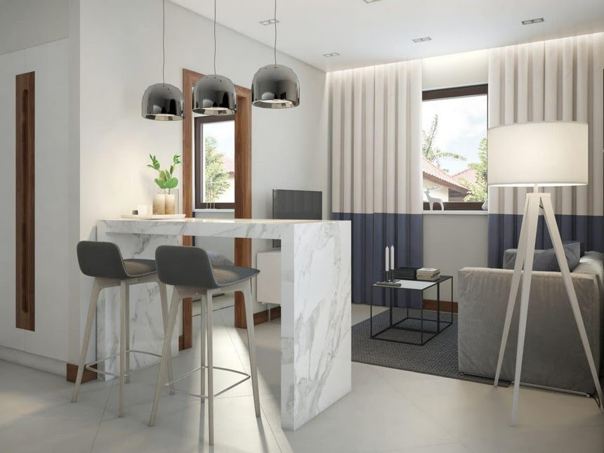 1 minimalist Scandinavian style interior design white walls gray blue funriture open concept kitchen living room marble bar table stools bicolor curtains pendant lamps Zuiver Tripod floor lamp