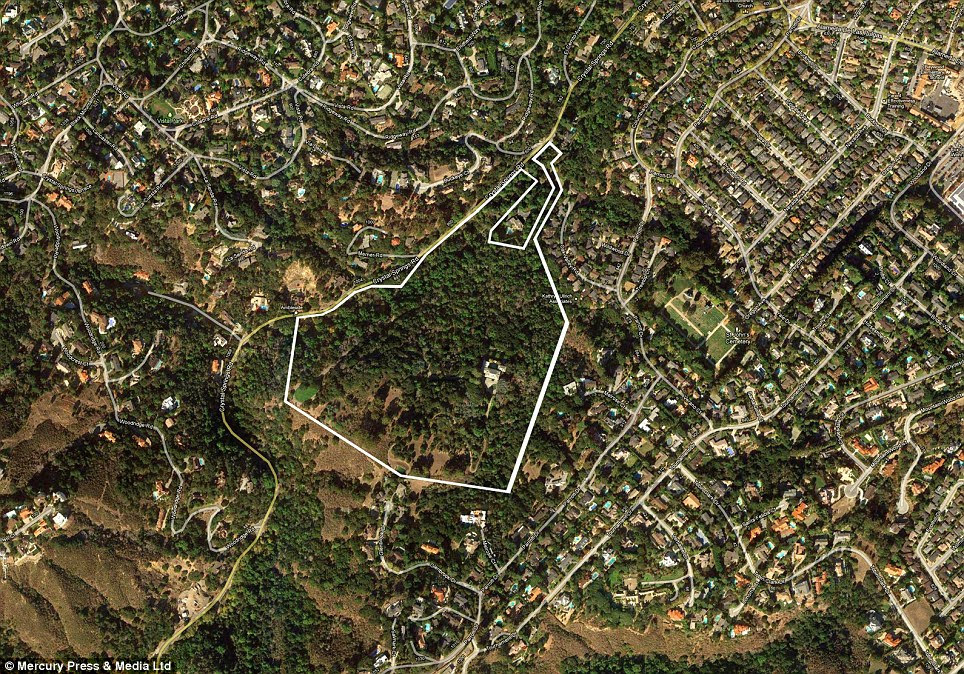 This satellite image shows the incredible extent of the mansion's grounds