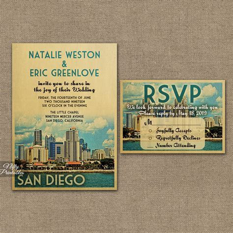 San Diego Wedding Invitations VTW   Nifty Printables
