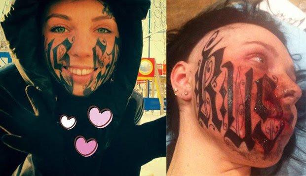 Black Ink Women Face Tattoo