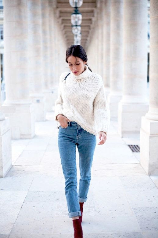 Le Fashion Blog Chunky Turtleneck Sweater Vintage Skinny Boyfriend Jeans Red Suede Burgundy Ankle Boots Via Alexs Close Winter Style