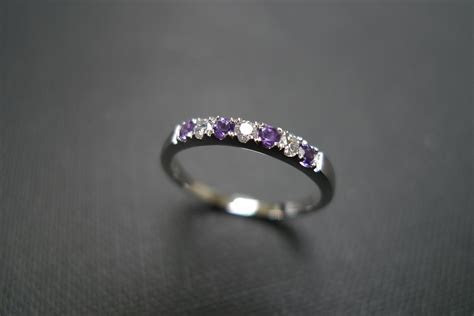 Diamond Wedding Ring With Amethyst In 14K White Gold on Luulla