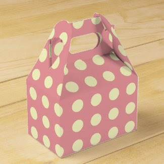 Polka Dots of Pale Yellow on Pink Favor Boxes