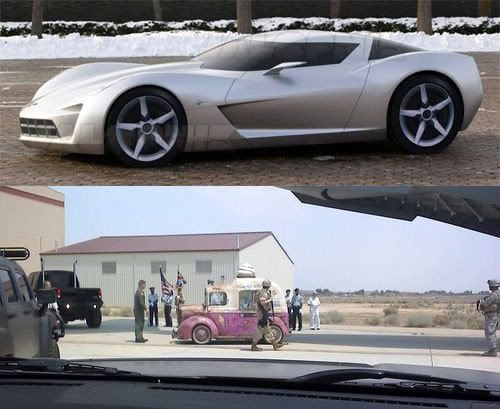 The Corvette Centennial and an ice cream truck in REVENGE OF THE FALLEN.