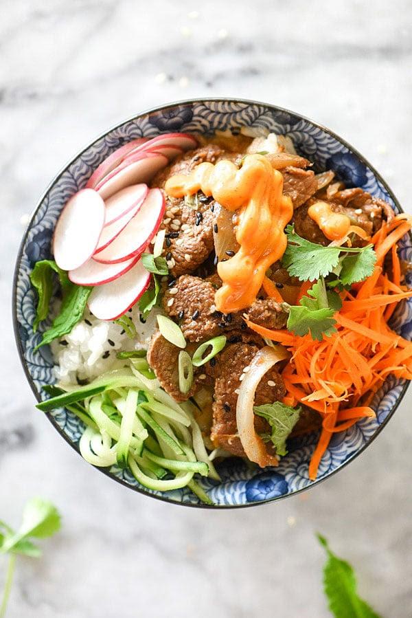 Korean Beef Bulgogi Bowls Recipe   foodiecrush.com