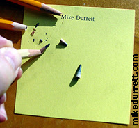 Mike's failed grocery list and broken pencil points.
