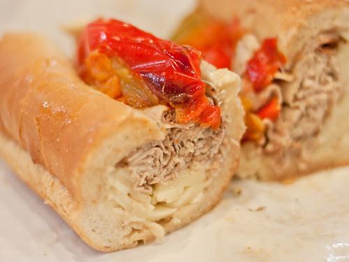 Roast beef sandwich innards