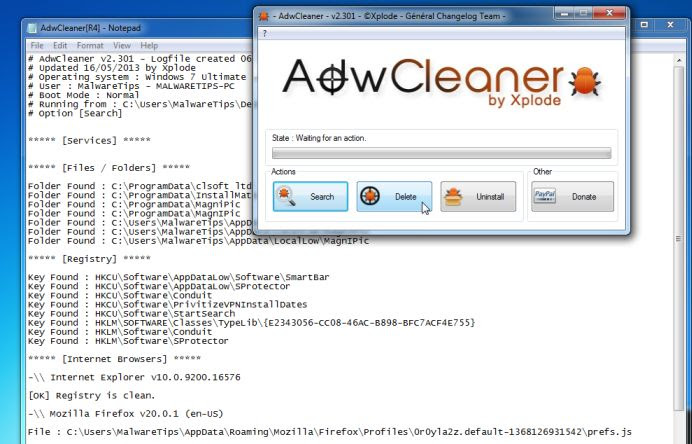[Image: Adwcleaner removing Topic Torch by WebCake]