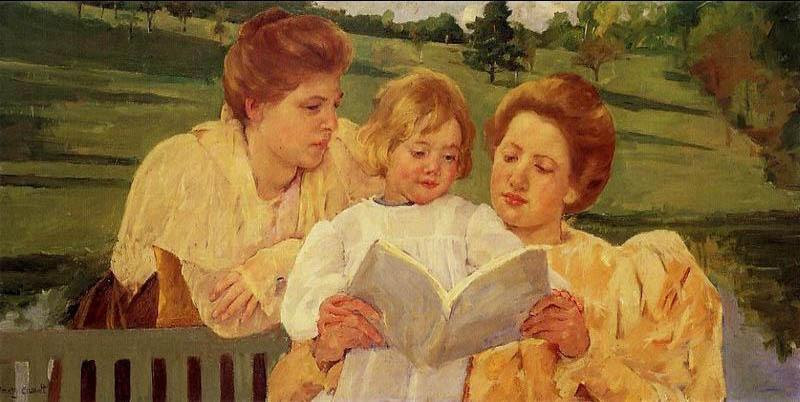 Mother and child reading, Mary Cassatt