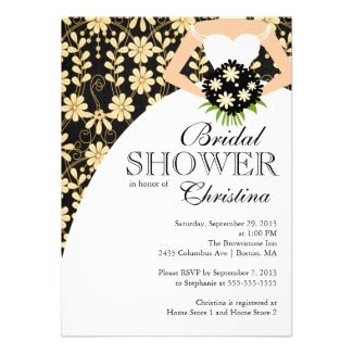 Black Fall Floral Beautiful Bride Bridal Shower Personalized Invites