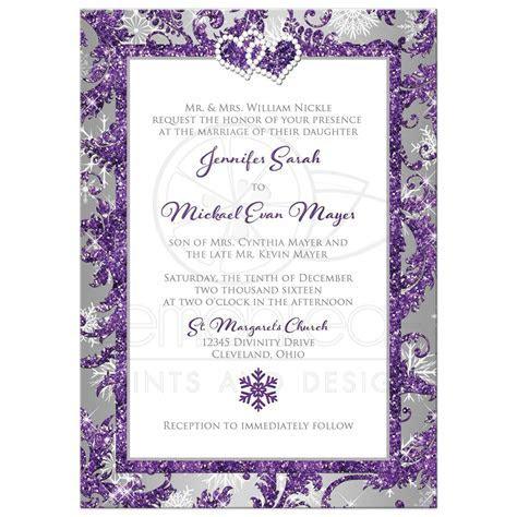 Winter Wonderland Wedding Invitation   Purple, Silver