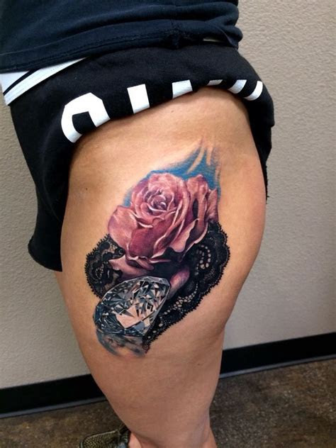 hip tattoo rose diamond lace hip tattoo lace