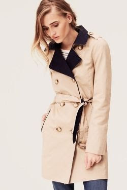 LOFT Colorblock Cotton Twill Trench Coat