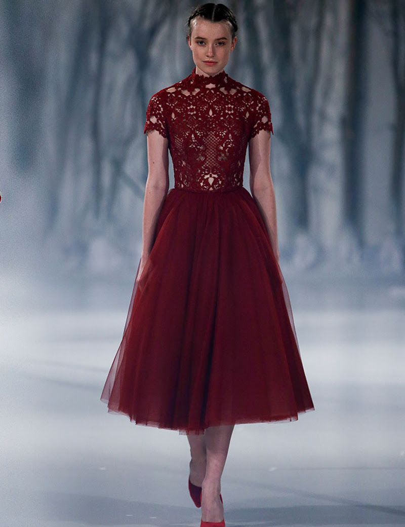 2016 Paolo Sebastian Burgandy Evening Dresses High Neck Short Sleeves Ruched Tea Length Formal Gowns Online