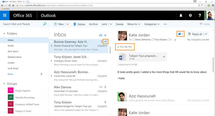 Botão de curtir pode ser usado por todos os contatos envolvidos no e-mail (Foto: Divulgação/Microsoft)