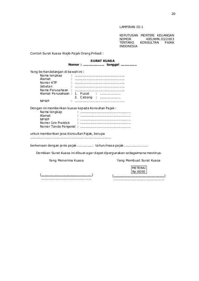 Contoh Surat Kuasa Wajib Pajak Badan - Contoh 36