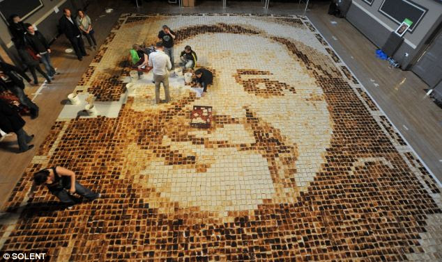Working on the huge toast mosaic
