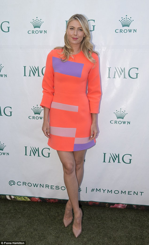 Enviable figure: The 28-year-old's dress highlighted her toned legs to perfection and were accentuated by her nude shoes