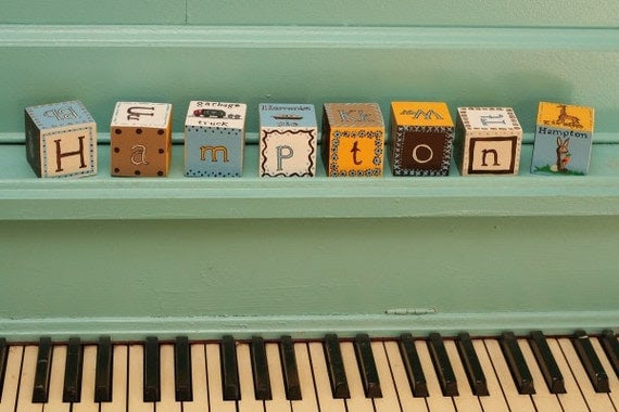 Name Alphabet Blocks Custom Hand Painted Personalized for your sweetie