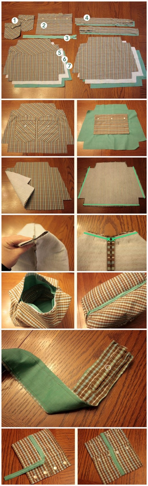 How to upcycle shirts into purses step by step DIY tutorial instructions 2