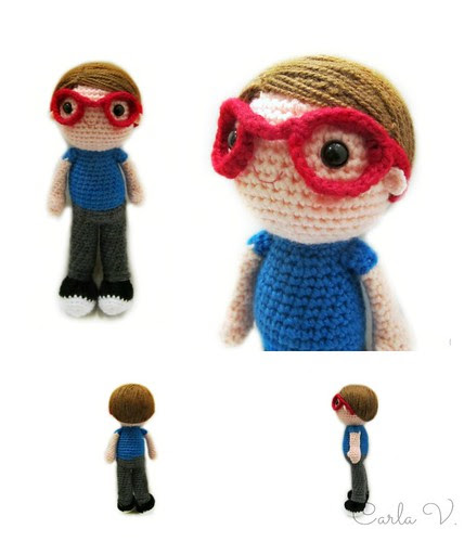 Amigurumi boy with glasses
