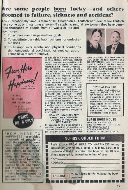 Old Ad for Happiness book