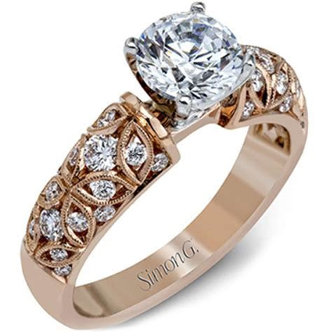 Simon G. Rose Gold Vintage Style Diamond Engagement Ring
