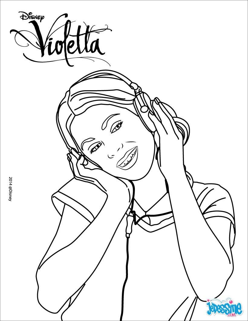 Diego Hernández Casal Coloriage Violetta écoute de la musique