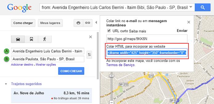 Na versão antiga só há uma opção de tamanho de mapa para embed (Foto: Reprodução/Paulo Alves)