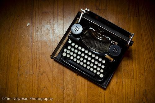hardwood floor typewriter