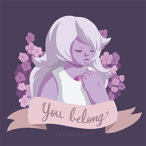 """The gang's all here! I got on board with the whole """"pieces with text banners and flowers"""" and wanted to make a series featuring characters from Steven Universe since I like the show so much and..."""