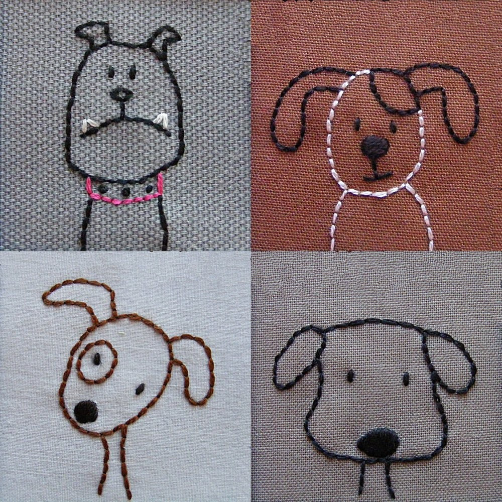 Embroidered Dogs - PDF pattern