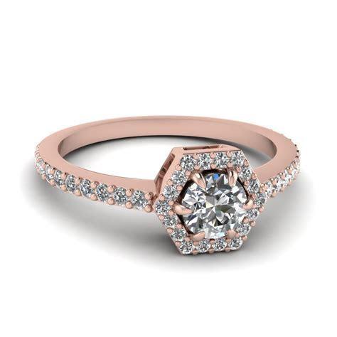 Petite Hexagon Halo Diamond Engagement Ring In 14K Rose