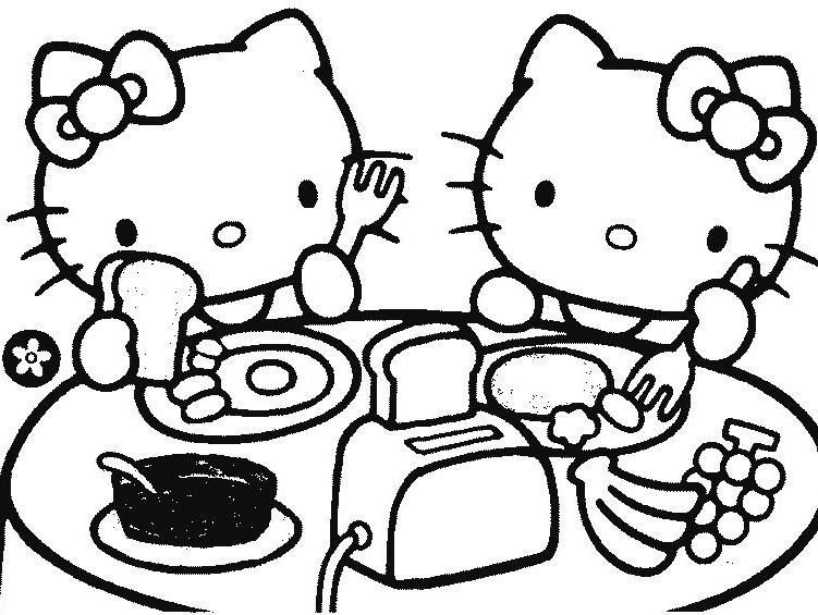 Coloriage A Imprimer Hello Kitty Mange Gratuit Et Colorier