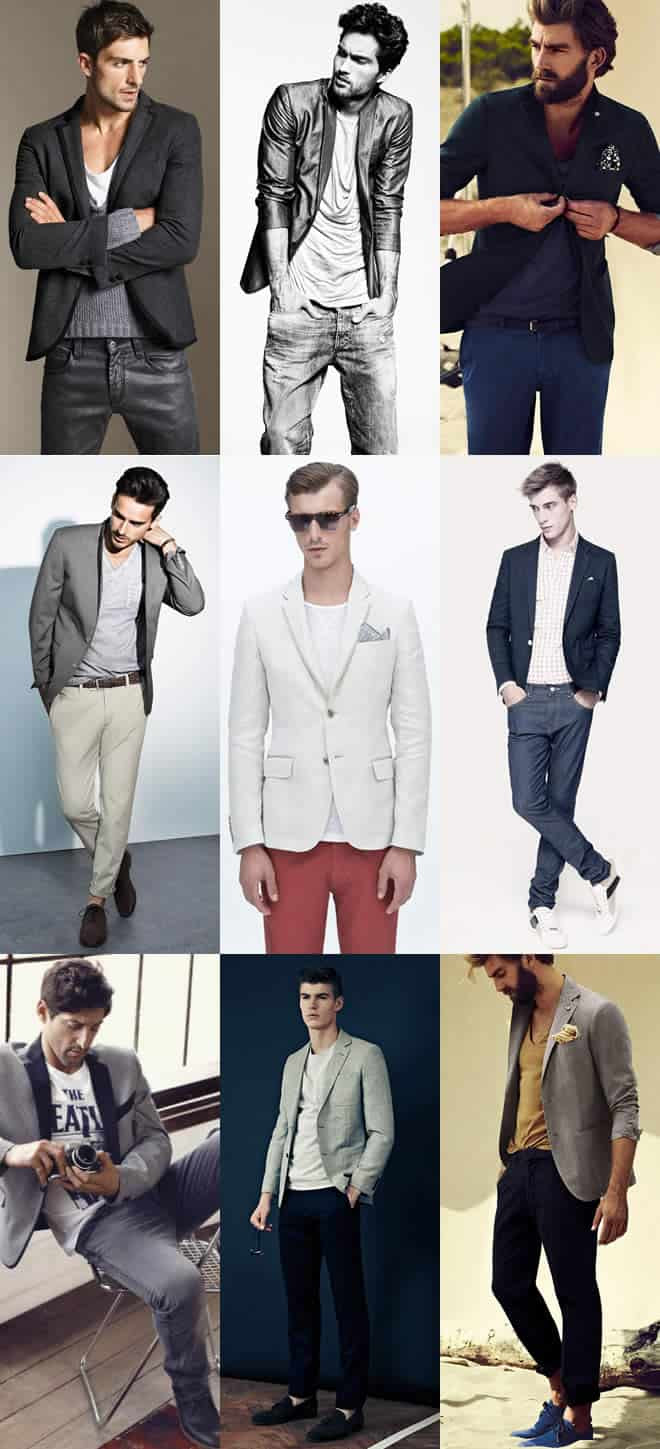 The classic blazer and tee combination examples