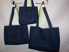 Mini, Small, Medium Denim Totes