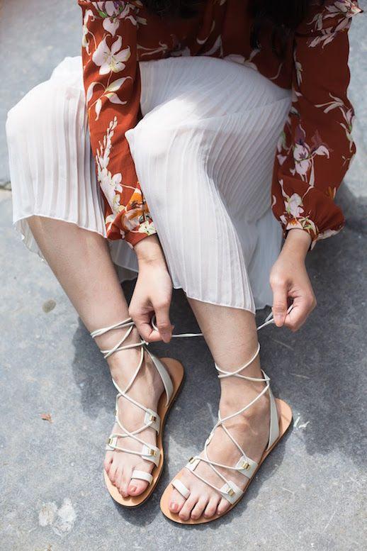 Le Fashion Blog Floral Print Top Pleated Skirt White Lace Up Sandals Via Tlnique