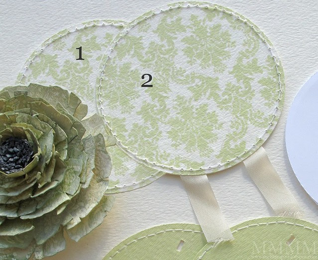 1b create pieces for the front of the round notepad-stitched circles of printed digi on watercolour paper
